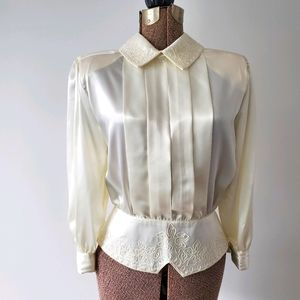 Vintage silky white blouse with floral embroidery